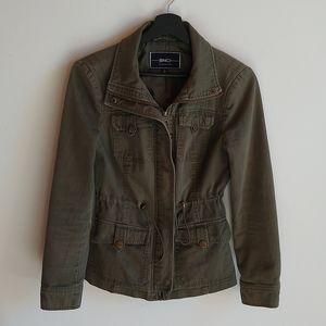 Blanc Noir Military Utility Jacket Army Green Satin Lining 4 Pockets Cotton S
